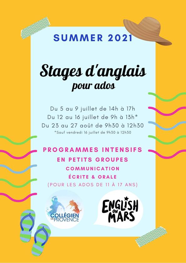 Stages des vacances d'été 2021